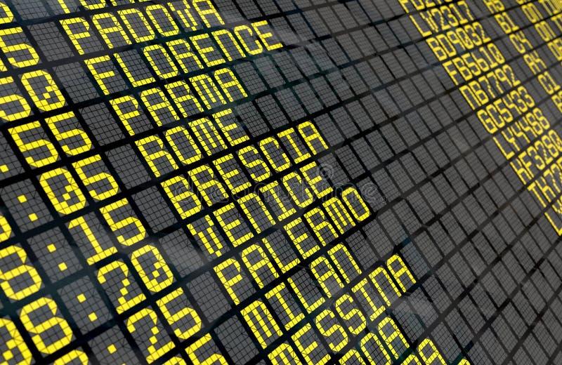 Placa da partida do aeroporto com destinos italianos foto de stock royalty free