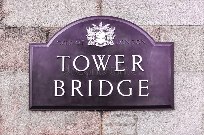 Placa da ponte da torre, Londres, Reino Unido fotos de stock