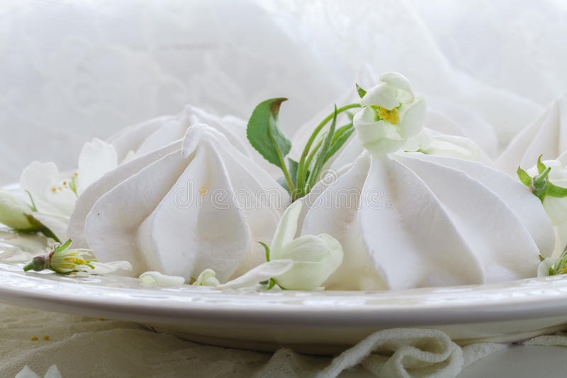 Placa da porcelana completamente da merengue branca macia Dentro close-up fotografia de stock