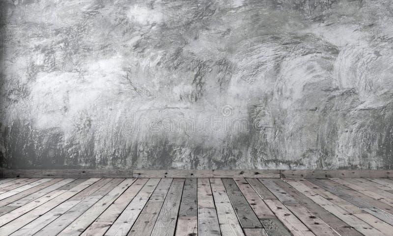 Placa da sala com emplastro cinzento áspero do cimento e fl de madeira marrom ilustração stock