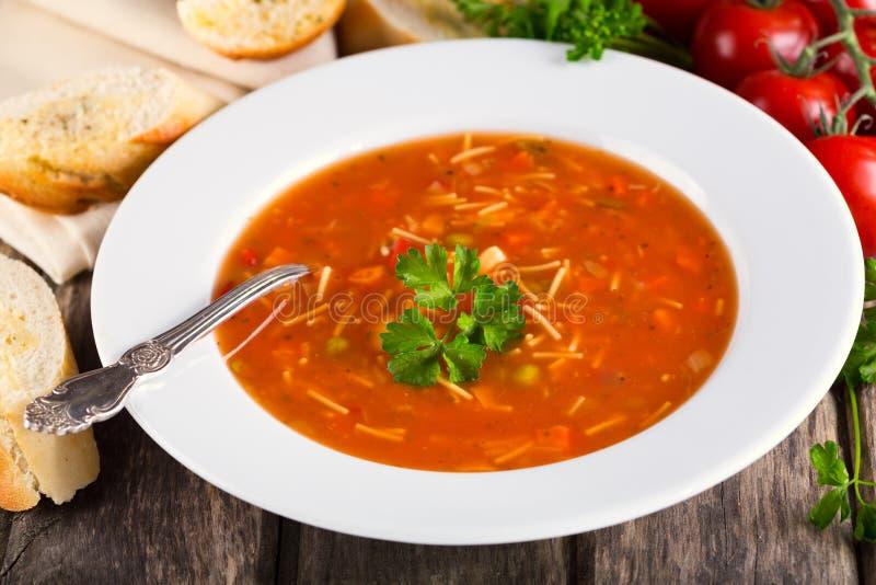 Placa da sopa do minestrone imagem de stock royalty free