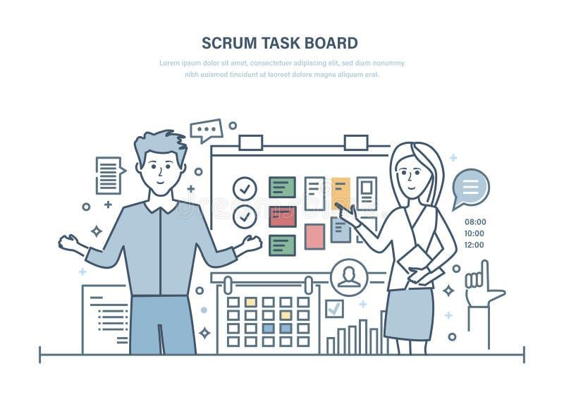 Placa da tarefa do scrum Horários laborais de organização, gestão do projeto, tarefas planeando ilustração royalty free