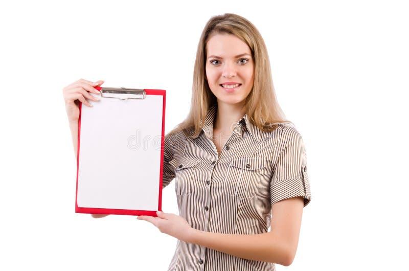 Placa da terra arrendada da jovem mulher isolada no branco foto de stock royalty free