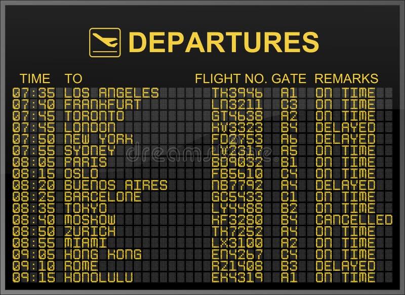 Placa das partidas do aeroporto internacional imagem de stock royalty free