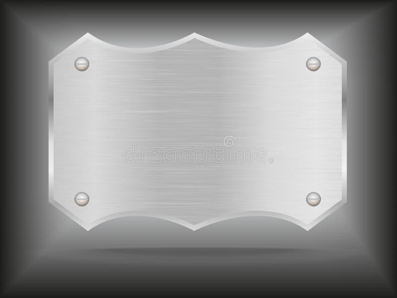 Placa de aço do metal do vetor com parafusos ilustração do vetor