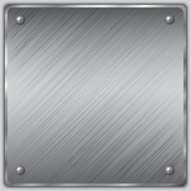 Placa de aço quadrada do vetor com parafusos ilustração stock