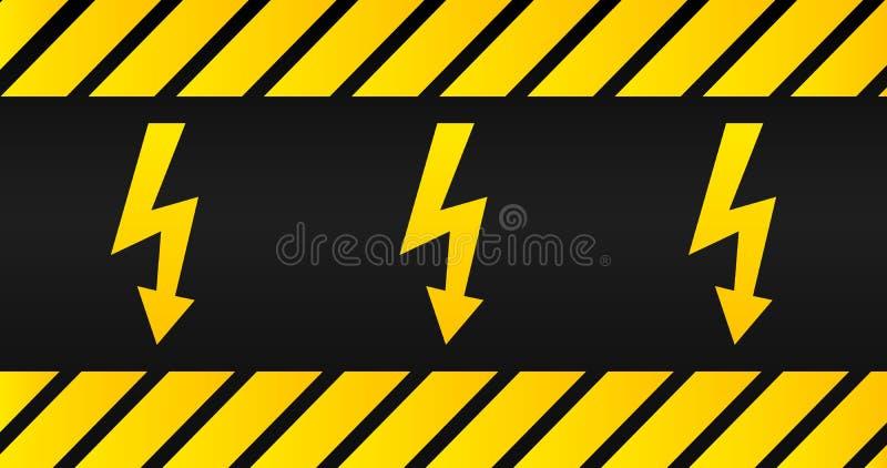 Placa de advertência de alta tensão, sinal velho do perigo com as listras amarelas e pretas ilustração stock