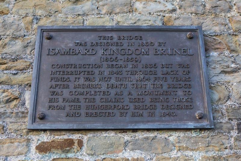 Placa de Brunel del reino de Isambard en Clifton Suspension Bridge imagen de archivo
