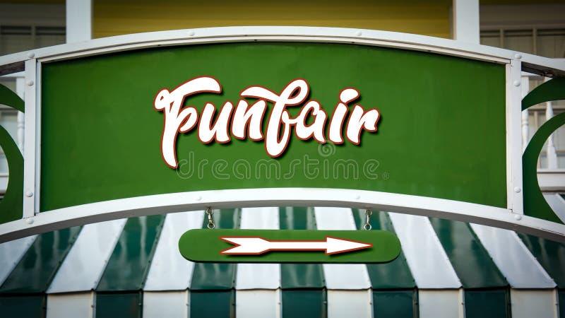 Placa de calle al Funfair foto de archivo