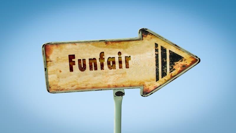 Placa de calle al Funfair imagen de archivo libre de regalías