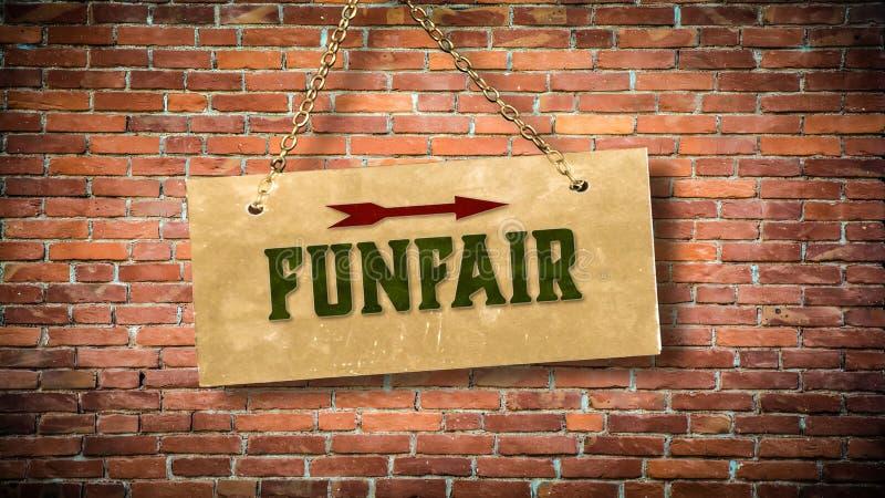 Placa de calle al Funfair fotos de archivo libres de regalías