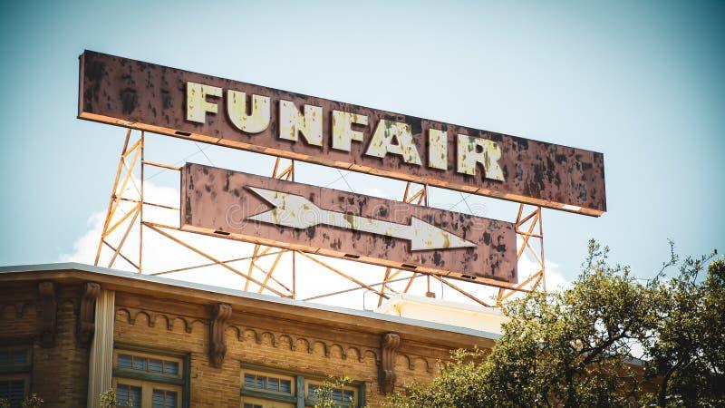 Placa de calle al Funfair foto de archivo libre de regalías