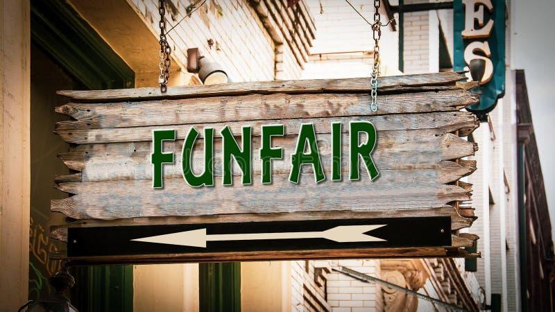 Placa de calle al Funfair fotografía de archivo