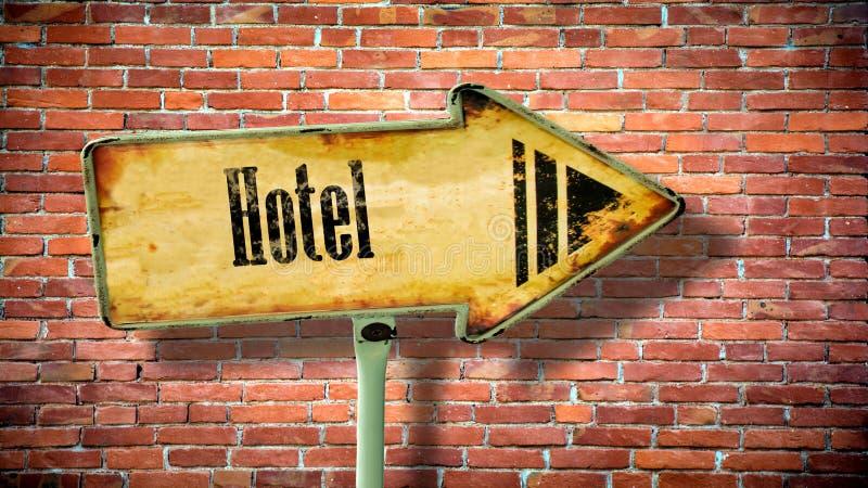 Placa de calle al hotel ilustración del vector