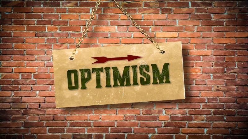Placa de calle al optimismo foto de archivo