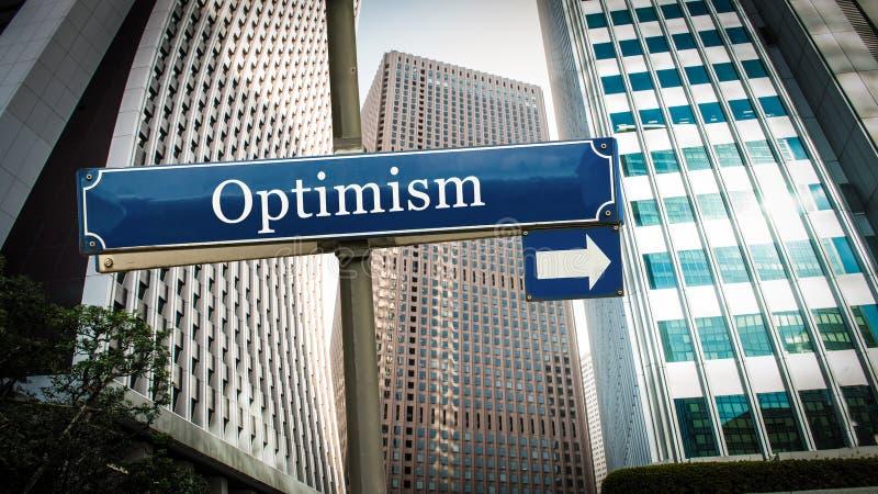 Placa de calle al optimismo fotografía de archivo