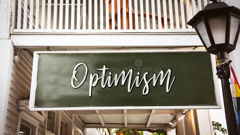Placa de calle al optimismo imagen de archivo