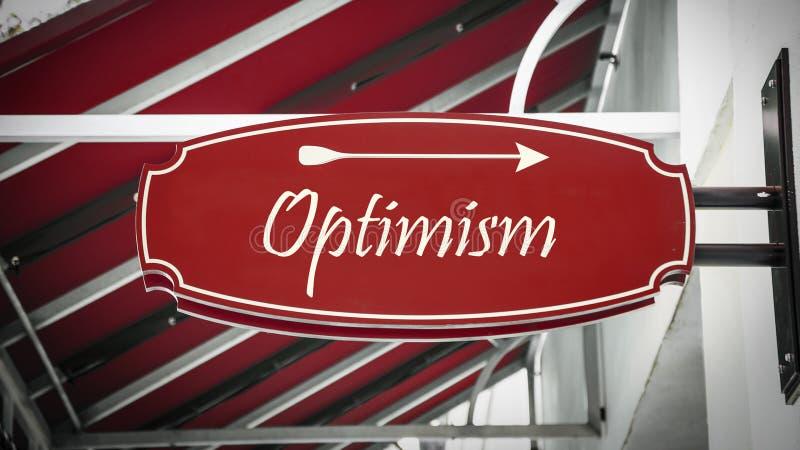 Placa de calle al optimismo foto de archivo libre de regalías