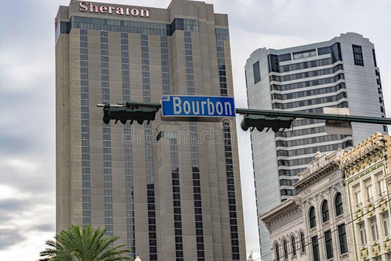 Placa de calle de Borbón en New Orleans, Luisiana foto de archivo libre de regalías