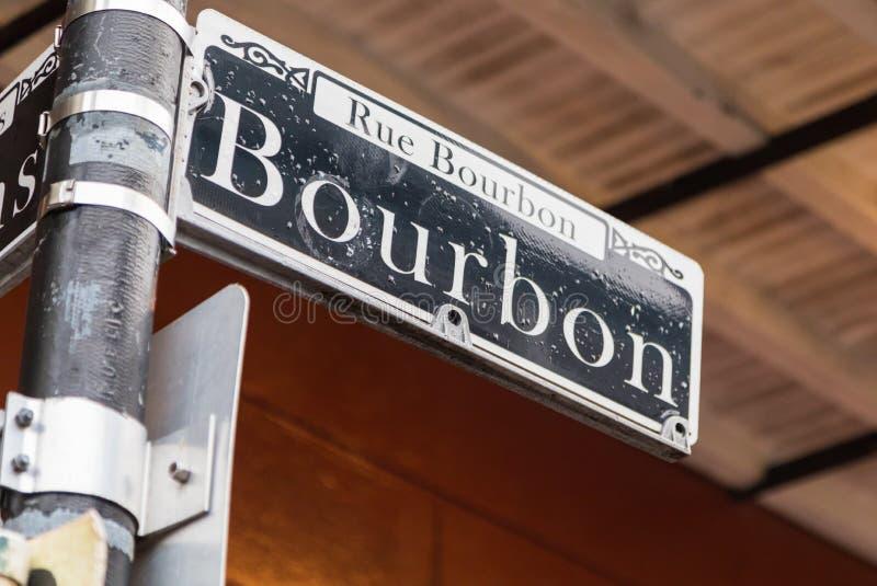 Placa de calle de Borbón en New Orleans, Luisiana imagen de archivo libre de regalías