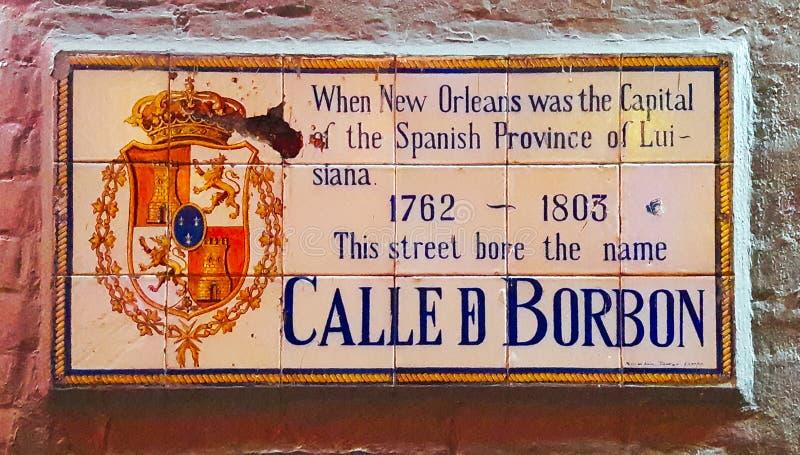 Placa de calle de Borbón, New Orleans imagen de archivo