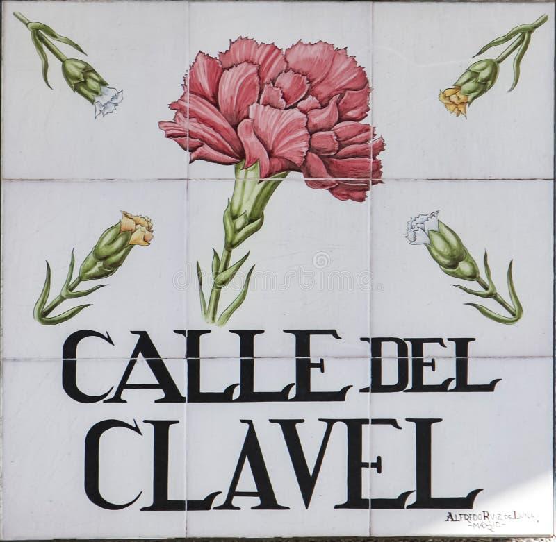 Placa de calle de Madrid imágenes de archivo libres de regalías