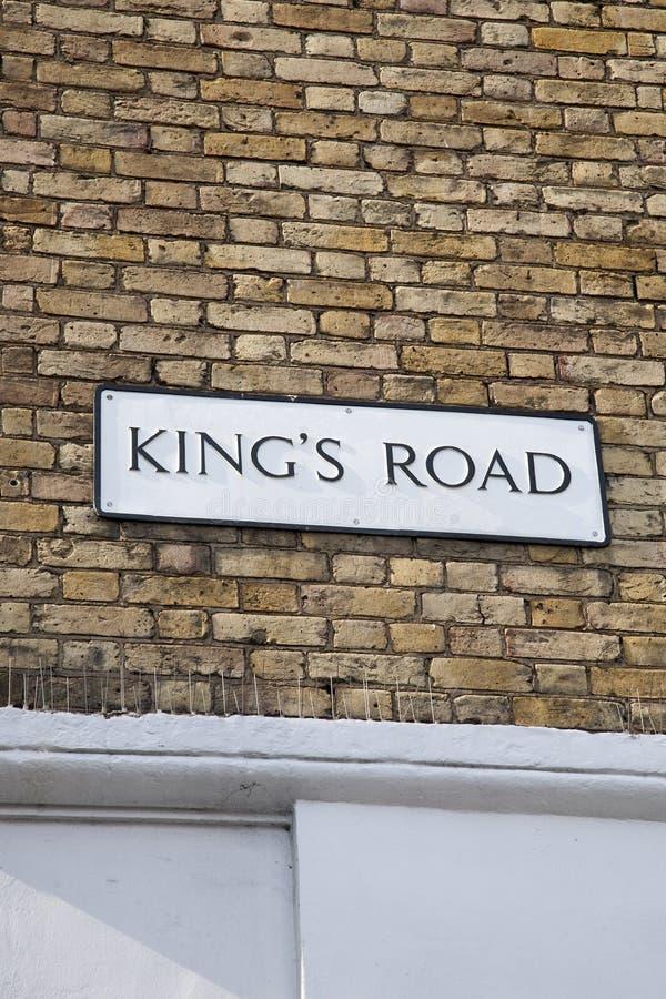 Placa de calle de reyes Road, Chelsea, Londres fotografía de archivo