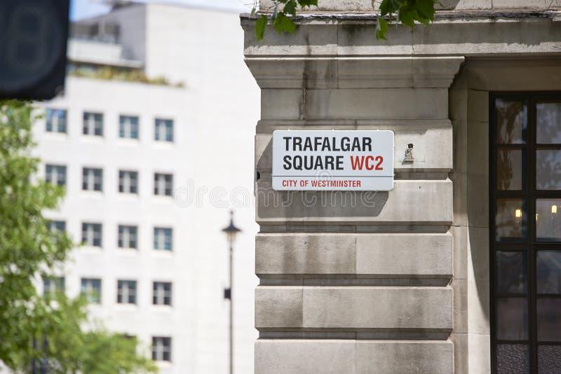 Placa de calle de Trafalgar Square imágenes de archivo libres de regalías