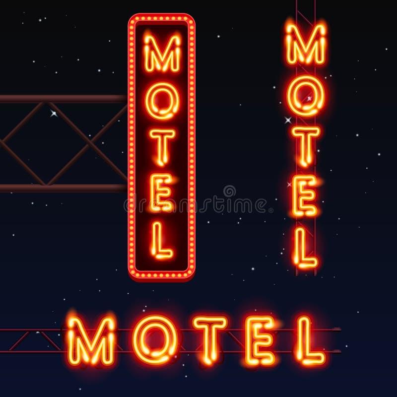 Placa de calle del motel Bandera de neón del motel ilustración del vector