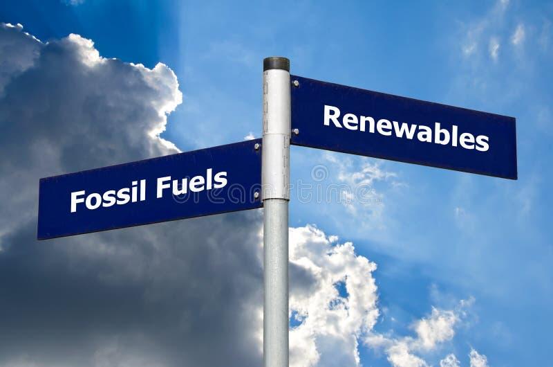 Placa de calle delante del cielo nublado que representa la opción entre los 'combustibles fósiles' y las 'energías renovables ' foto de archivo libre de regalías