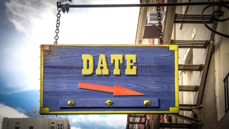 Placa de calle hasta la fecha imagen de archivo libre de regalías