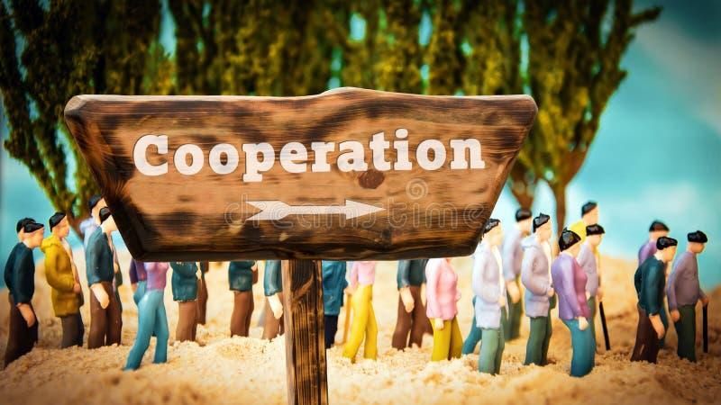 Placa de calle a la cooperaci?n fotografía de archivo