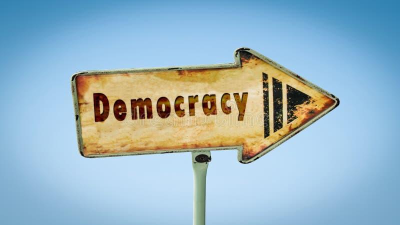Placa de calle a la democracia fotografía de archivo