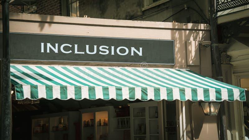 Placa de calle a la inclusi?n imagen de archivo libre de regalías