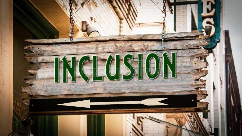Placa de calle a la inclusi?n ilustración del vector