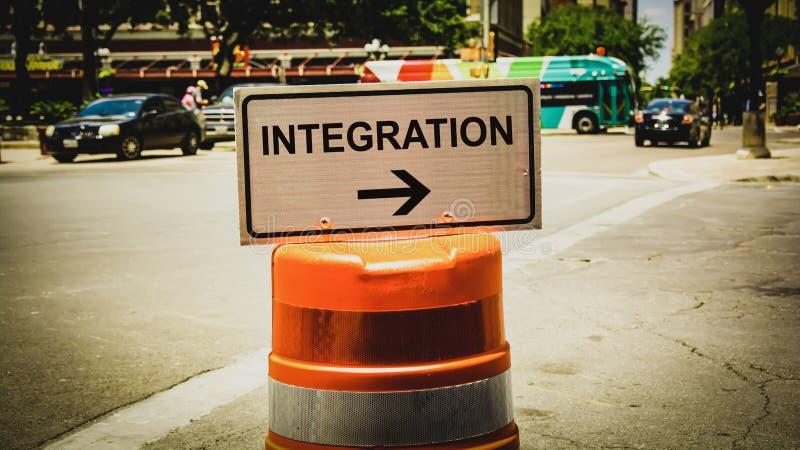 Placa de calle a la integraci?n fotos de archivo