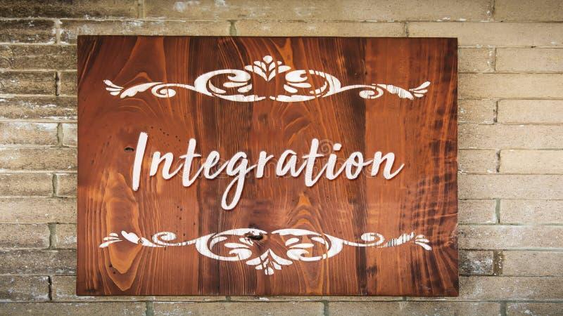 Placa de calle a la integraci?n imagenes de archivo