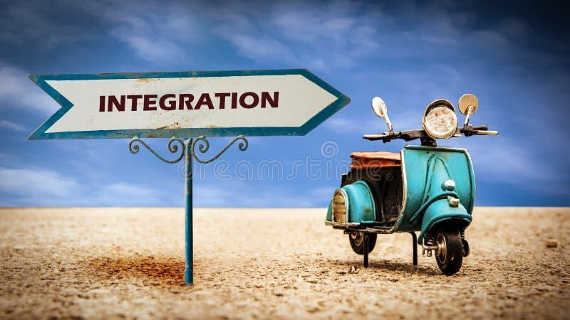 Placa de calle a la integraci?n fotografía de archivo