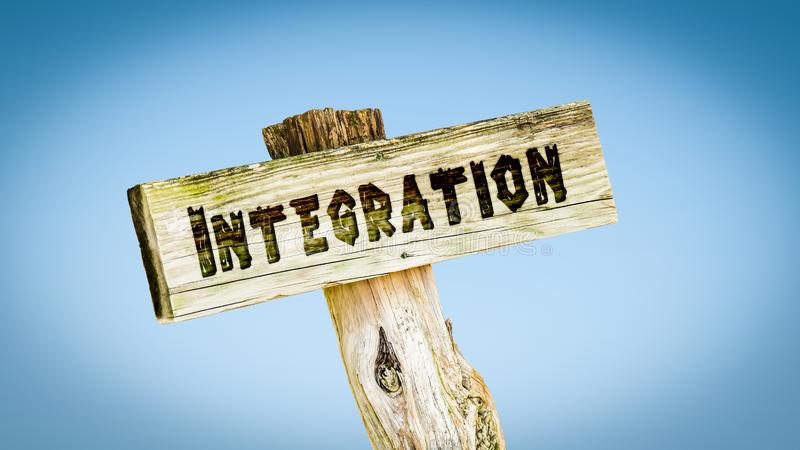 Placa de calle a la integraci?n imagen de archivo