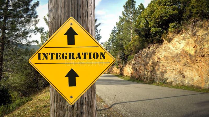 Placa de calle a la integraci?n foto de archivo