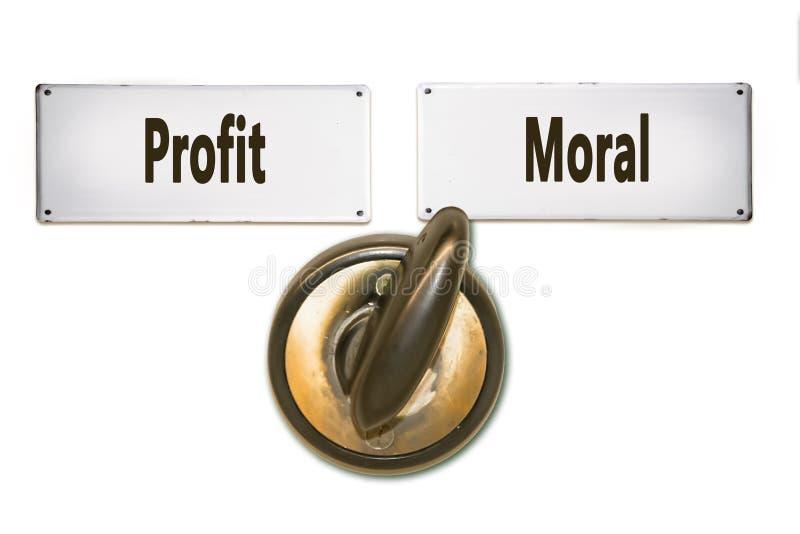 Placa de calle a la moraleja contra beneficio ilustración del vector
