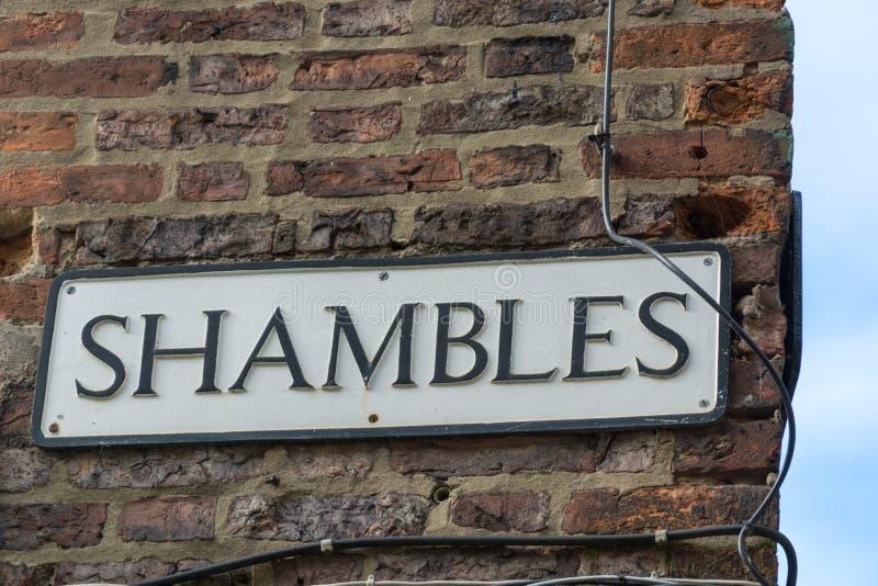 Placa de calle para la CONFUSIÓN, una calle icónica en York imagenes de archivo