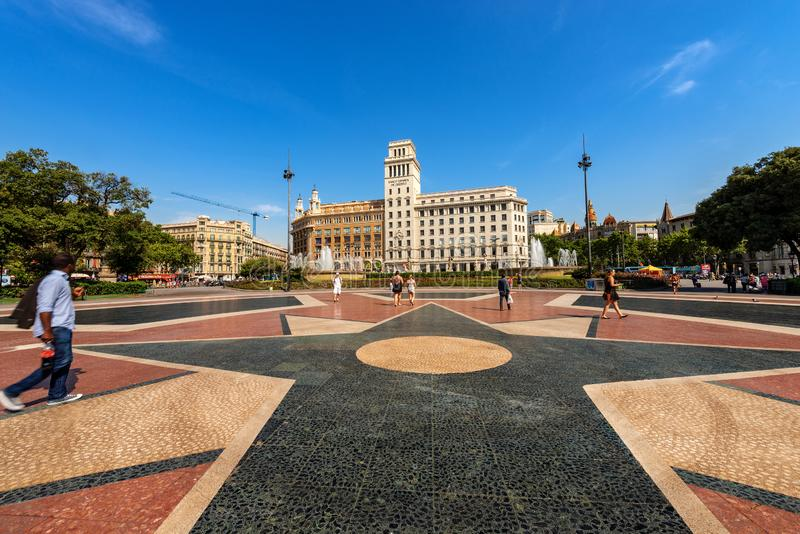 Placa de Catalunya - Catalonia Square - Barcelona Spain stock image