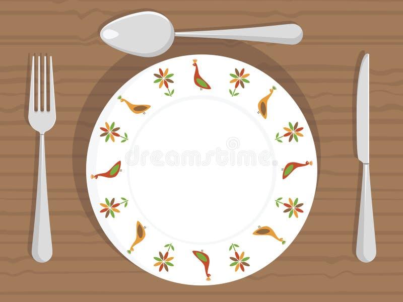Placa de cena ilustración del vector
