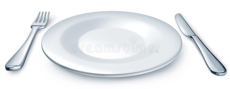 Placa de cena con la fork y el cuchillo