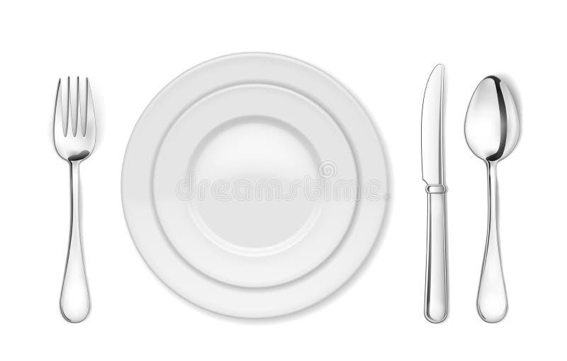 Placa de cena, cuchillo, fork y cuchara ilustración del vector