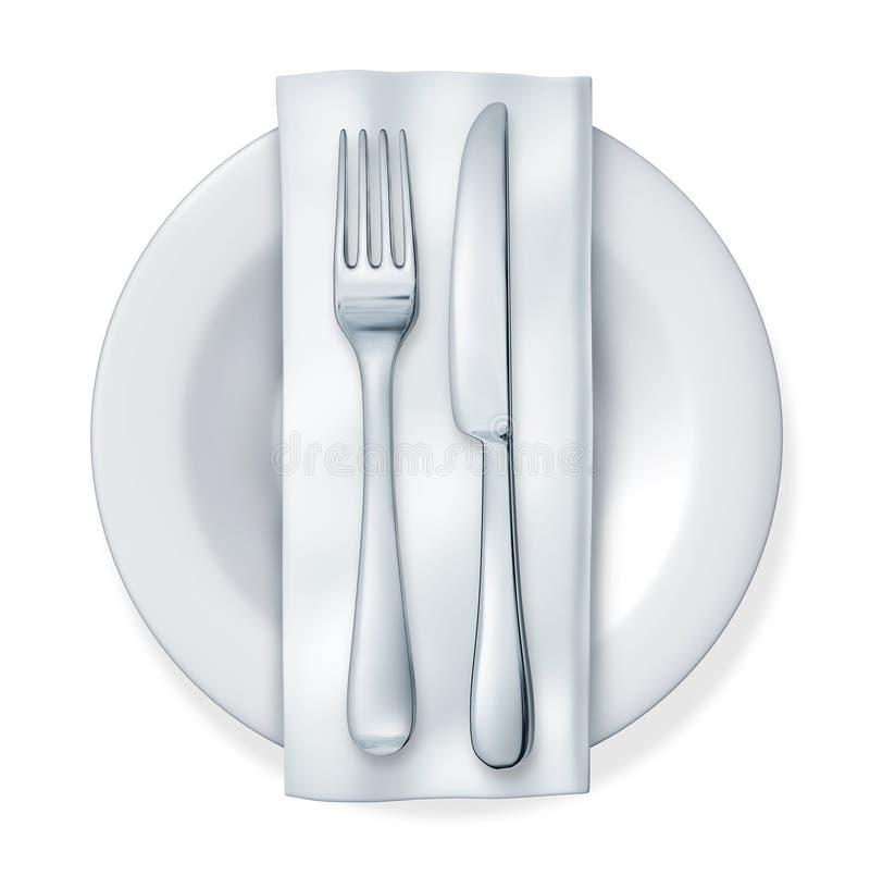Placa de cena de la fork y del cuchillo libre illustration