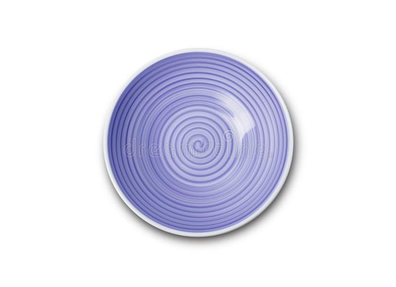 Placa de cerámica azul vacía con el modelo espiral en estilos de la acuarela imagenes de archivo