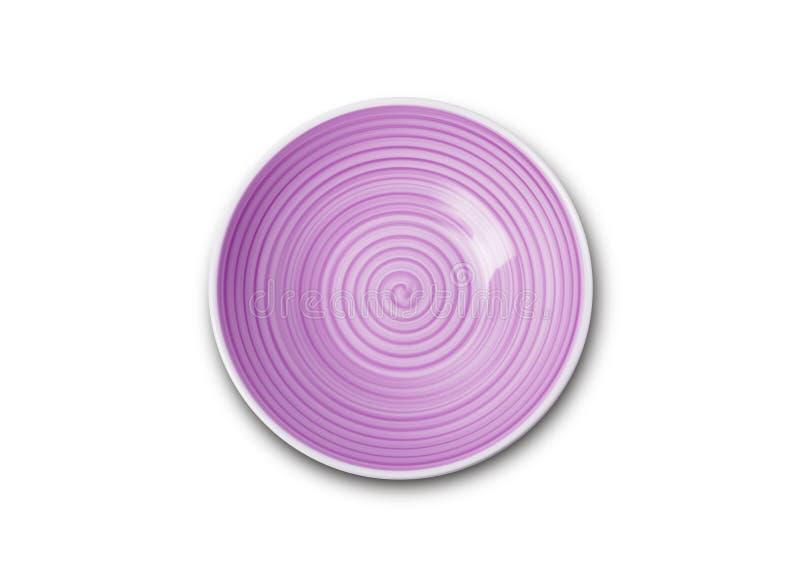 Placa de cerámica del wiolet vacío con el modelo espiral en estilos de la acuarela foto de archivo libre de regalías