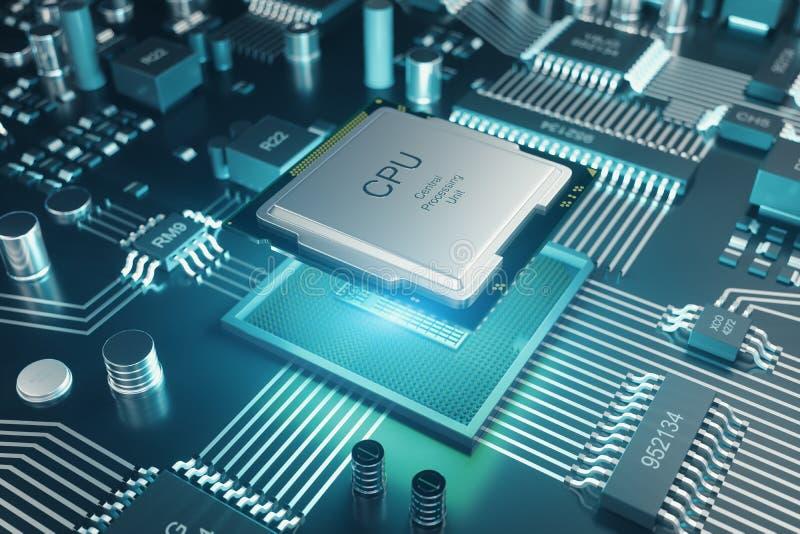 Placa de Cicruit, inteligência artificial, ai, conceito da rede neural Fundo da tecnologia, fundo da ciência da tecnologia ilustração stock